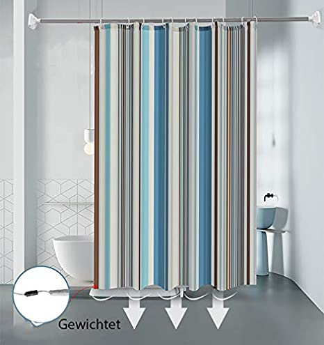 100/% poli/éster 120 x 200 cm incluye anillas antibacteriana lulupila Cortina de ducha textil resistente al agua y al moho antimoho lavable