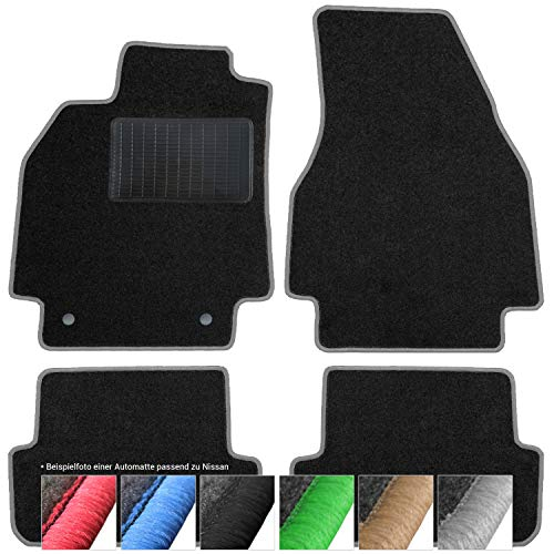 moto-MOLTICO Dörrmattor bil velour bilmattor svarta bilmattor set om 4 delar passar till Nissan Juke 2010-2019 (grå – dekorativa sömmar)