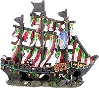 Penn Plax RR960 13''H Striped Sail Shipwreck Set Bow and Stern