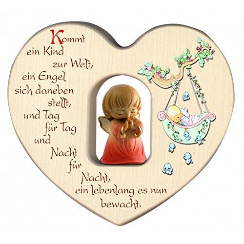 Herz für Mädchen mit Schutzengel zur Geburt/Dekoration/Kinderzimmer/aus Holz