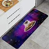 PATINISA Alfombra de Cocina,Burger Pug en el Espacio Funny Hamburger,Antideslizante Estera Cocina Lavable Alfombrillas Absorbentes Pasillo alfombras,120x45cm