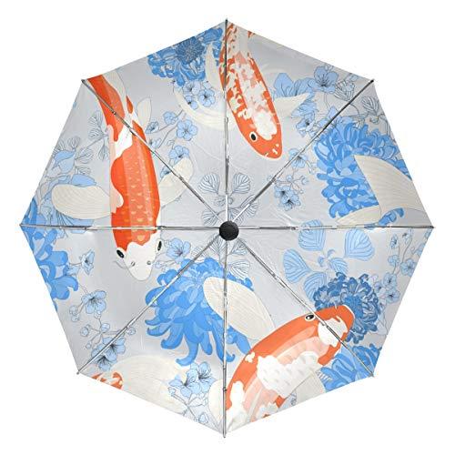 Paraguas de Viaje pequeño a Prueba de Viento al Aire Libre Lluvia Sol UV Auto Compacto 3 Pliegues Cubierta de Paraguas - Papel Tapiz de Vector de Estanque de Carpas sin Costuras
