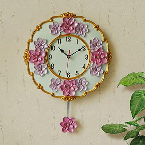 horloge murale CivilWeaEU- Pendule résine Mute Pastoral Salon Chambre à Coucher créative Mode Horloge à Quartz Pendaison Table