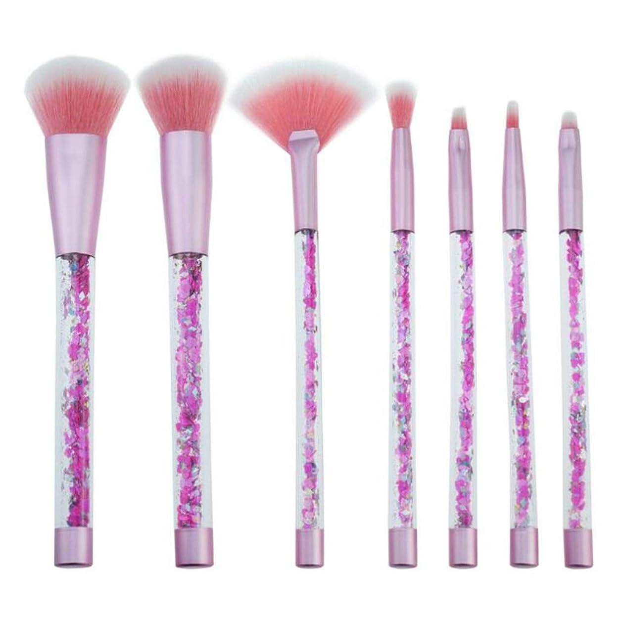 つかの間感度またはスパンコール化粧ブラシセット、美容メイクアップツールソフトファンデーションブラシ7個セット