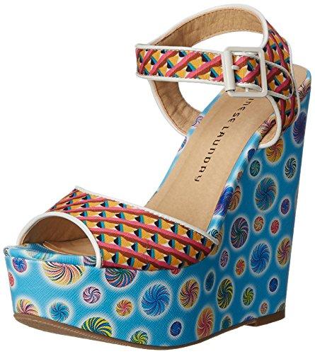 Chinese Laundry Women's Jollypop Wedge Sandal, Blue Multi, 9 M US