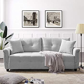 Tribesigns Modern Sofa Couch Mid-Century Grid Tufted Linen Fabric Sofa Loveseat for Living Room Bedroom Apartment Small Space  Light Gray