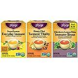 Yogi Tea - Immune Support Variety Pack Sampler (3 Pack) - Feel Better with Sweet Lemon Everyday Immune, Elderberry Lemon Balm Immune and Stress Support, and Honey Chai Turmeric Vitality - 48 Tea Bags