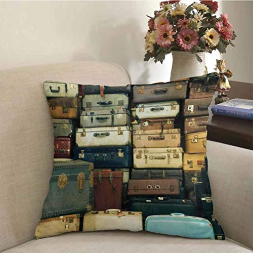 prunushome Vintage Throw Pillow Case Colorful Vintage Suitcase Antique Leather Decorative Travel Gift Map Nostalgia Fashion Pillow Case Brown Cream Green for Car/Sofa/Home Decoration | 18 x 18 inch