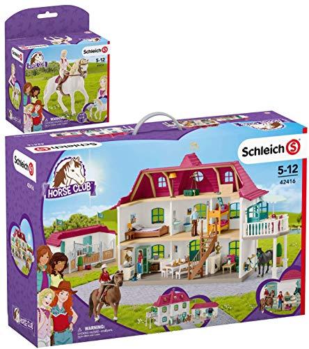 SCHLEICH Horse Club 2er Set 42412 42416 Sofia & Blossom + Großer Pferdehof mit Wohnhaus und Stall