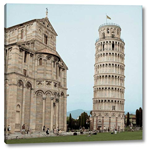 """Pisa Tower - 1 by Alan Blaustein - 12"""" x 12"""" Canvas Art Print Gallery Wrapped - Ready to Hang"""