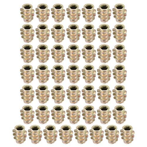 sourcing map 50Stk.Gewinde Einsatzmuttern Zinklegierung Hex-Spülen M4 Innengewinde 10mm Länge