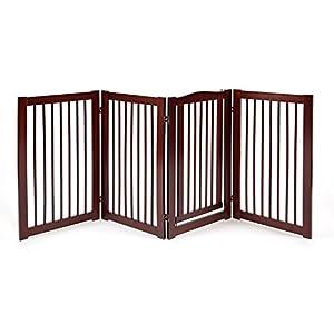 Primetime Petz 33238-G8 360 Configurable Dog Gate with Door – Indoor Freestanding Walk Through Wood Pet Gate,Walnut,36″