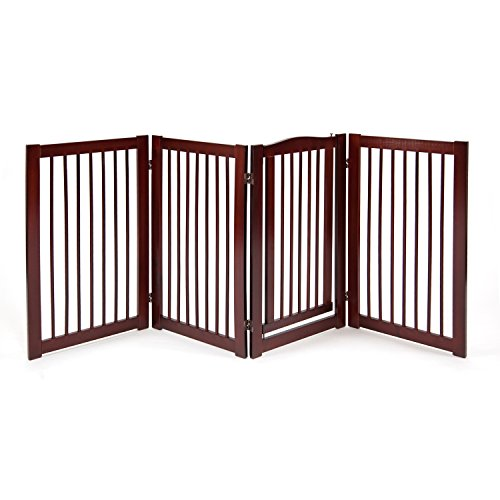 Primetime Petz 33238-G8 360 Configurable Dog Gate with Door – Indoor Freestanding Walk Through Wood Pet Gate,Walnut,36'