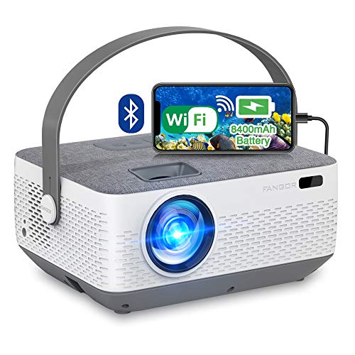 WiFi Projector Bluetooth 8400mAh Battery, Rechargeable Portable Home Projector, FANGOR 1080P Outdoor Movie Projector with Sync Smartphone Screen via WiFi/USB Cable, Compatible with iPhone, Laptop