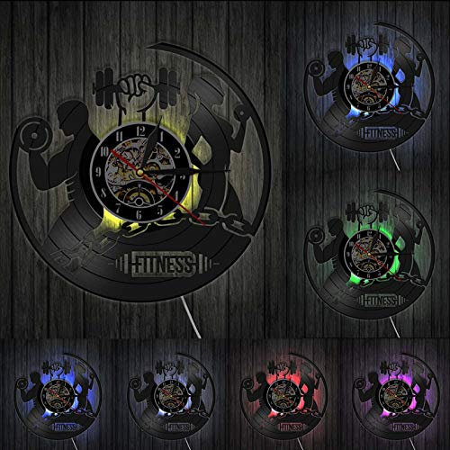 ZZLLL Aptitud Reloj de Disco de Vinilo Deportes Cuerpo Salud Manual Ejercicio Gimnasio Gimnasio Colgante de Pared Arte decoración de Sala de Fitness Pesa de Gimnasia Retro LP Reloj de Pared - con LED