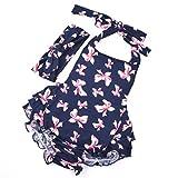 Ouneed® Babyschmuck Haarband , 1 Set nette Baby Säuglingsmädchen -Blumen Rüschen Body Geburtstags Party Outfits Overall Hair (L, Blau)