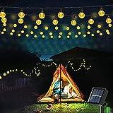 Geemoo Solar Lichterkette Aussen, 9M 60 LED Kristall Kugeln Lichterkette Außen Solar, 8 Modi Wasserdicht Outdoor Lichterkette Solar für Garten, Terrasse, Party, Balkon Deko (Warmweiß)