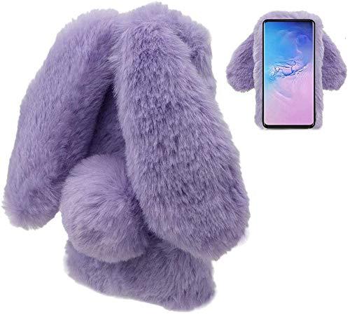 LCHDA Rabbit Case for Samsung Galaxy A51,Rabbit Fur Bunny Ear Case for Girls Fuzzy Cute Warm Winter Soft Furry Fluffy Ball Fur Hair Plush Protective TPU Bumper Skin Cover for Samsung Galaxy A51-Purple