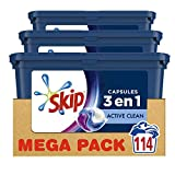 Skip Ultimate Lessive 3en1 Capsules Active Clean 114 Lavages (Lot de 3x38 Capsules)