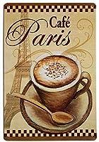 パリのカフェレトロで面白いファミリーデコレーション錫マークレトロメタルバーバーポスター8x12