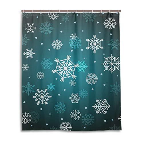 JSTEL Decor Duschvorhang Winter Weihnachten Schneeflocken Muster Druck 100prozent Polyester Stoff Duschvorhang 152,4 x 182,9 cm für Home Bad Deko Duschvorhang