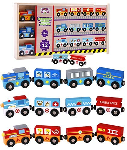 Wooden Trains 12 Set - Trains for Wooden...