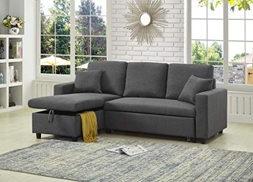 GTU Furniture Reversible Sectional Sleeper Sofa with Storage (Grey)