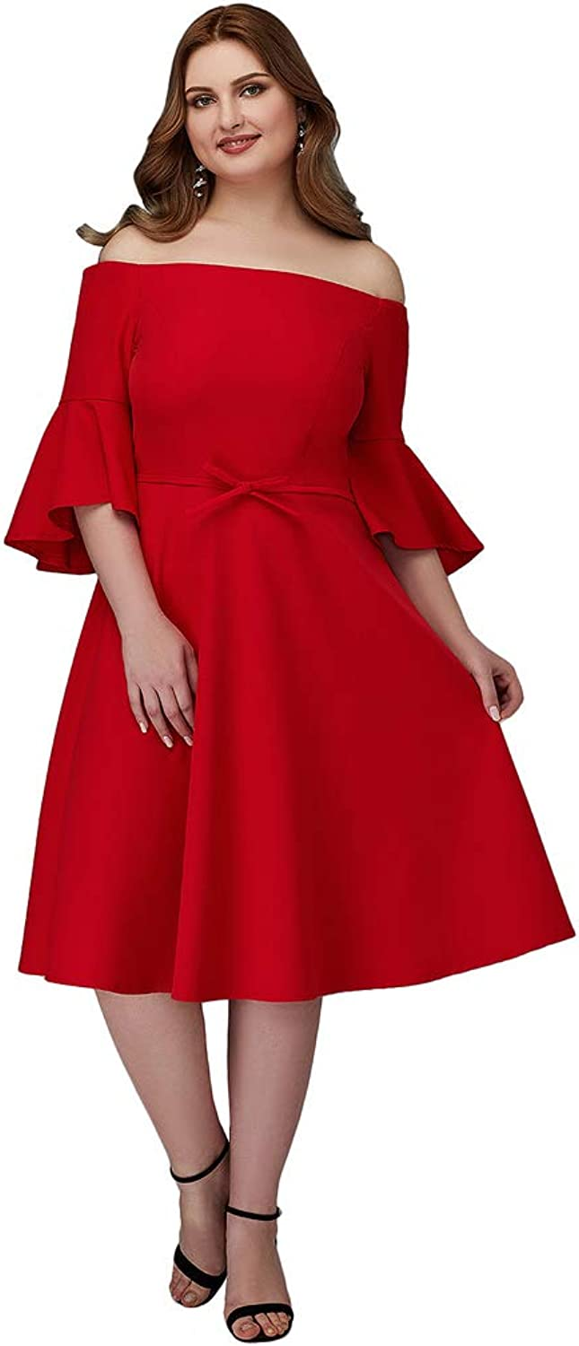 TS Women's ALine Off Shoulder Knee Length Stretch Satin Cocktail Party Dress with Sash Ribbon