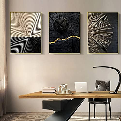 ConBlom Set di Stampe da Parete, linee di anelli annuali in oro bianco e nero nordico, 3 Pezzi Premium Poster Quadri Moderni Soggiorno Poster Abbinati per Camera da Letto Soggio (30 x 40 cm)
