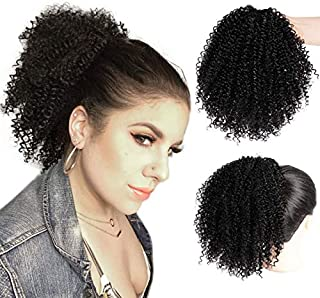 Drawstring Ponytail Extension Kinky Ponytail Puff Extension Clip in Natural Hair Synthetic Hairpiece Black Color Ponytail for Women (1B#)