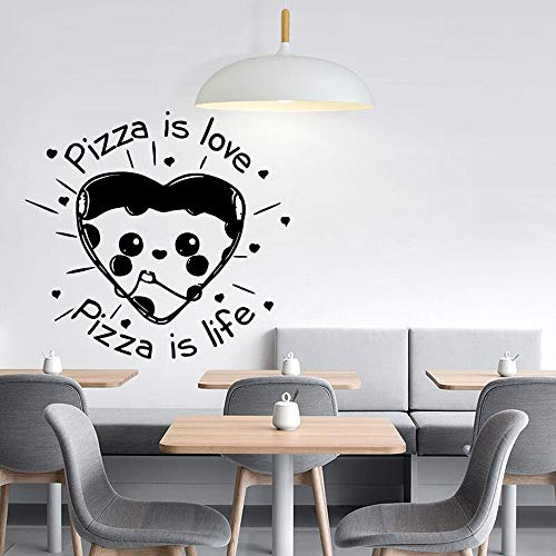 Blrpbc Adhesivos Pared Pegatinas de Pared Pizza Cita decoración de la Cocina café pizzería decoración Pizza decoración de la Pared Vinilo Arte calcomanía Mural extraíble 57x61cm