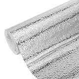 DIYARTS Adesivo per Cucina A Prova di Olio Foglio di Alluminio Carta da Parati Impermeabile per Casa Stufa Autoadesiva Carta da Parati con Spruzzi Adesivo Senza Colla (Orange Peel 0.4 * 2 m)