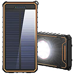 F.Dorla 20000mAh Solar Power Bank for Camping Outdoor Solar Charger Portable Solar Battery Charger for Cell Phone iPhone Ipad Android with 2 Led Flashlight and 2 USB Output Ports