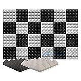 Arrowzoom 24 Paneles acustico absorción sonido Pirámide 25x25x5cm Espuma acústica aislamiento acustico estudio de grabación Casas Estudios Azulejos Incombustibles Insonorizados Negro Gris