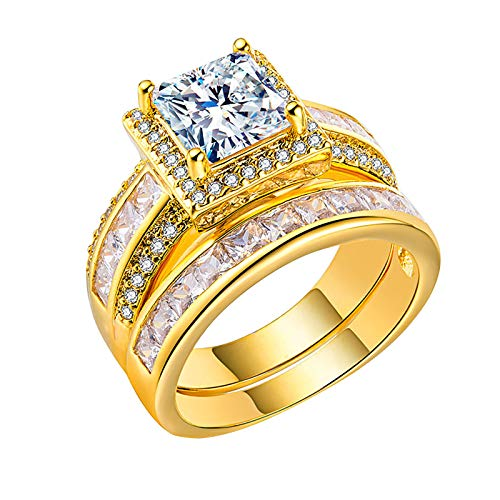Princess and Round Cut Simulated Diamond Gold Rings Wedding Propose Marriage Engagement Rings for her, Jewellery Gifts for Girls Women (Gold,10)