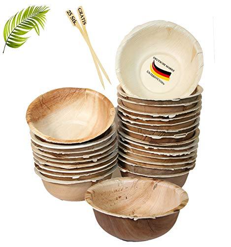 BIOQUQ Edle Einwegschalen | 425ml, 25 Stück | 25 STK GRATIS Spieße Einweggeschirr kompostierbar aus Palmblatt | Snackschale- Suppenschale