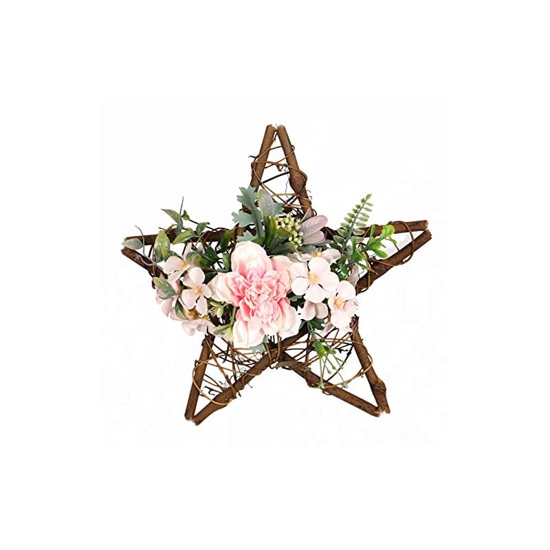 silk flower arrangements artificial floral wreaths camellia flower home decoration wall hanging star shaped wreaths for front door window bedroom birthday pink