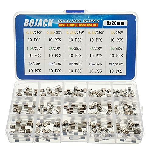BOJACK 15 Valori 150 pezzi Kit di classificazione dei fusibili in vetro a fusione rapida 5x20mm 250V 0.1 0.2 0.25 0.5 1 1.5 2 3 4 5 8 10 12 15 20A packag in una scatola di plastica trasparente