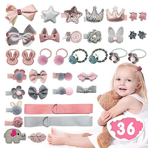 36 Stück Baby Haarspangen Set Mädchen, XCOZU Haargummis Haarschleife Haarclips Klein Haarklammern Schleifen Haarnadeln, Kinder Haarschmuck Set mit Geschenkbox, Grau & Pink