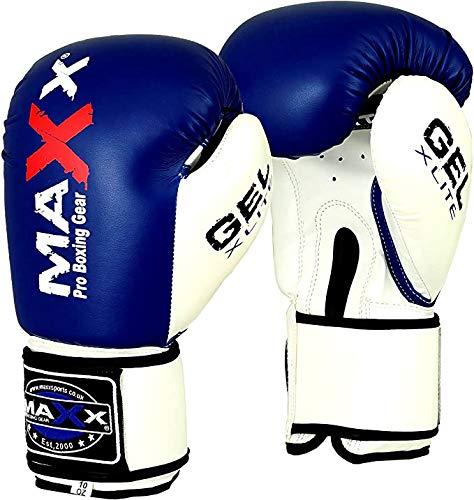 Maxx BlueWhite boxing gloves Junior kids adult sizes Rex leather 6oz 16oz 8oz