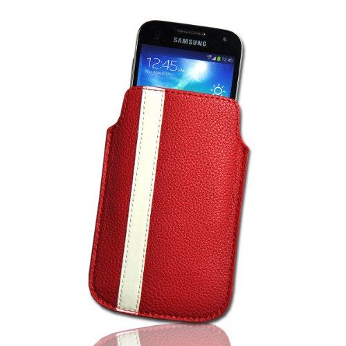Handy Tasche Etui Hülle Einschubtasche Kunstleder rot / weiß W8 Gr.4 für Nokia Lumia 900 / Huawei Ascend D quad / Huawei Ascend D quad XL / Sony Xperia Ion / Huawei U9200 Ascend P1 / Samsung Galaxy S2 i9210 LTE / Samsung Galaxy Nexus / Base Lutea 2 - 3