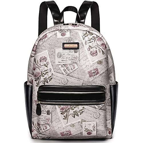 Lekesky Vintage Rucksack Damen wasserdichte PU Leder Anti-Diebstahl Frauen Schultertaschen für Schule Reise Arbeit