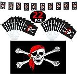 FACHY Piraten Flagge, 150x90cm(3 x 5 ft) Jolly Roger Flagge Pirat und 20 Stück Piraten Stick Fahnen(14x21cm) und 1 Piraten Banner (3m/ 9.84ft) für Piraten Halloween Party Dekoration 22 Stück