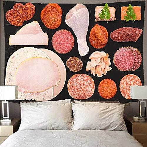 Tapiz de arte de salchicha de carne gourmet tapiz psicodélico para colgar en la pared toalla de playa manta fina tapiz de tela de fondo A3 150x200cm