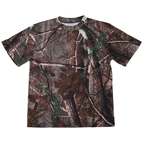 RETYLY Nuevo Camiseta camuflaje de caza al aire libre Camiseta del ejercito transpirable de hombre Camiseta de campamento camo de deporte seco Camuflaje de arbol XL