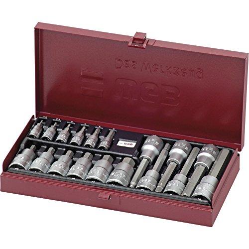 Westfaelische geschenktssleutelset 159291653 WGB dopsleutelset 3910 1/4 inch en 1/2 inch binnenzeskant 18-delig