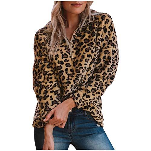 Overdose Sweatshirts Damen Casual Leo Print Plüsch Winterpullover Oberteile Reißverschluss Langarmshirt Frühling Herbst Winter Outwear (Gelb,M)