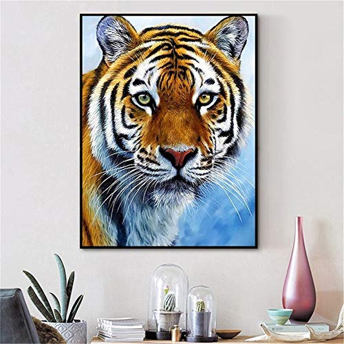Diamond Painting large Full Drill Animal tigre,5D DIY pintura Diamantes de imitación de cristal dot punto de cruz bordado art craft for Living bedroom wall decor Round Drill,40x60cm(16x24in)