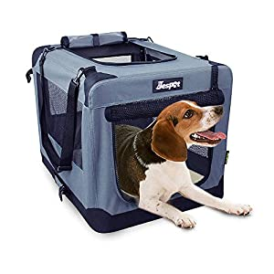 JESPET Soft Pet Crates Kennel 26″, 30″ & 36″, 3 Door Soft Sided Folding Travel Pet Carrier with Straps and Fleece Mat for Dogs, Cats, Rabbits, Indoor/Outdoor Use with Grey, Blue & Beige, Black