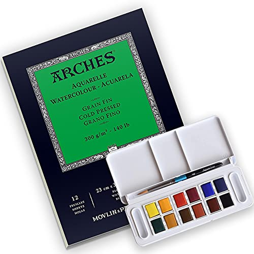 Arches Watercolor Paper Pad, 140 pound, Cold Press, 9'x12' with Daler-Rowney Aquafine 12 Half Pan Travel Watercolor Set, Assorted Colors